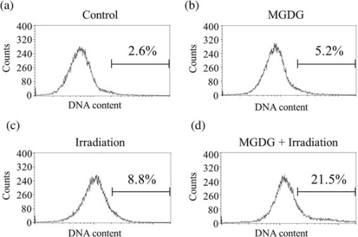 Induction of apoptosis after MGDG, irradiation and their combination in MIAPaCa-2 cells. a Control, b 25 μM MGDG, c 5 Gy radiation, d combination of 25 μM MGDG and 5 Gy radiation