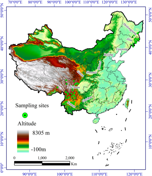 Geographic locations of Tricholoma matsutake populations in China.The map was plotted using ArcGIS 9.3 (ESRI, Redlands, CA, USA, http://www.esri.com/).