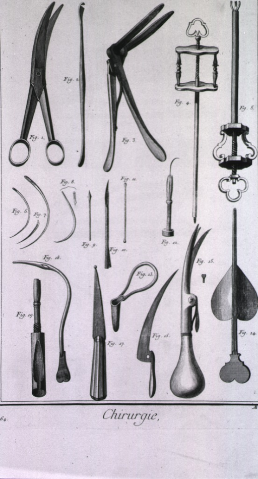 <p>Equipment displayed includes: blunt-pointed scissors, a small curette, cranes neck scissors, needles, a bistoury, and a needle for aneurisms.</p>