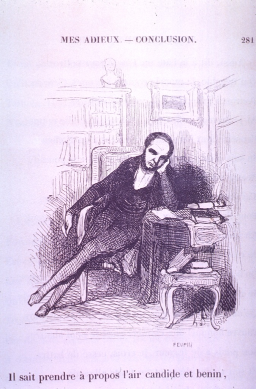 <p>A melancholy(?) doctor sits at his desk holding a quill trying to write a letter.</p>