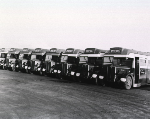 <p>Eight ambulance buses are parked in a row in a parking lot.</p>