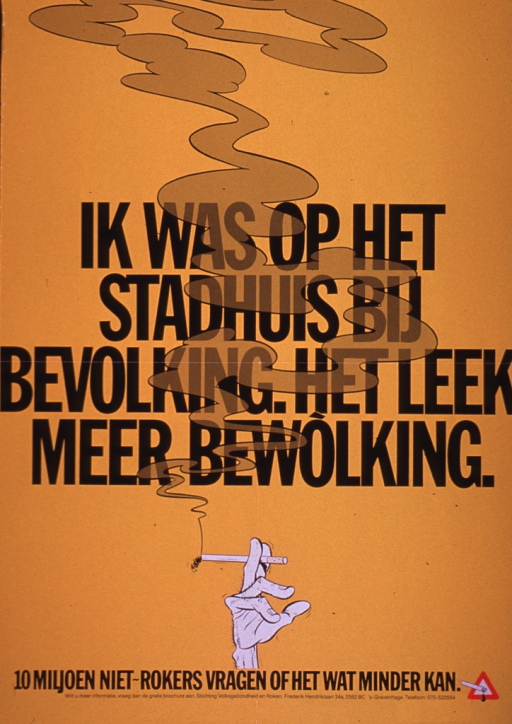 <p>Gold poster with black lettering.  Title dominates center of poster, though it is clouded with smoke.  Title deals with cloudiness at the city hall.  Visual image, below title, is an illustration of a hand holding a lit cigarette.  Caption below illustration refers to 10 million non-smokers asking if something can be remedied.  Publisher information below caption.</p>