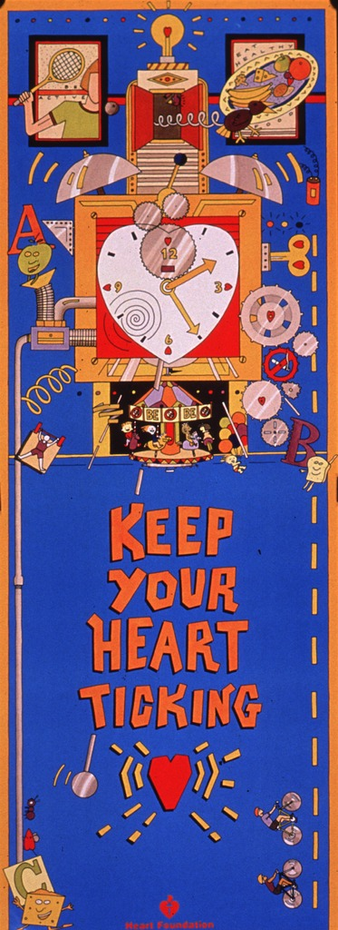<p>Predominantly bright blue poster with multicolor lettering.  Dominant visual image is an illustration of an elaborate, fanciful clock. The clock features many symbolic heart shapes and a carousel decorated with no-smoking signs.  Two smaller illustrations above the clock show a person with a tennis racquet and a plate of healthy foods.  One phrase of caption text accompanies each illustration.  Title in lower portion of poster.  Publisher information below title.</p>