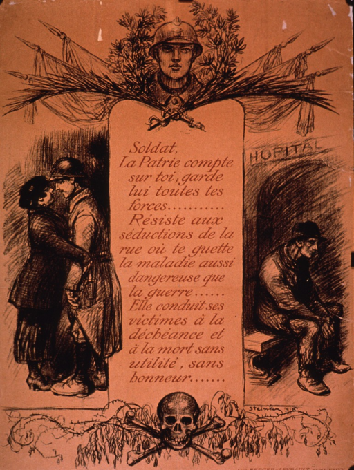 <p>Predominantly tan or discolored white poster with red and black lettering.  Visual images are illustrations of a soldier's head, a soldier embracing a woman, a man sitting on a bench in front of a hospital, and a skull and crossbones.  Text below title states that the country needs the soldier to have all his strength and urges him to resist the seductions of the street lest he contract a disease as dangerous as the war itself and die in vain, without honor.  Lithographer information in lower right corner.</p>