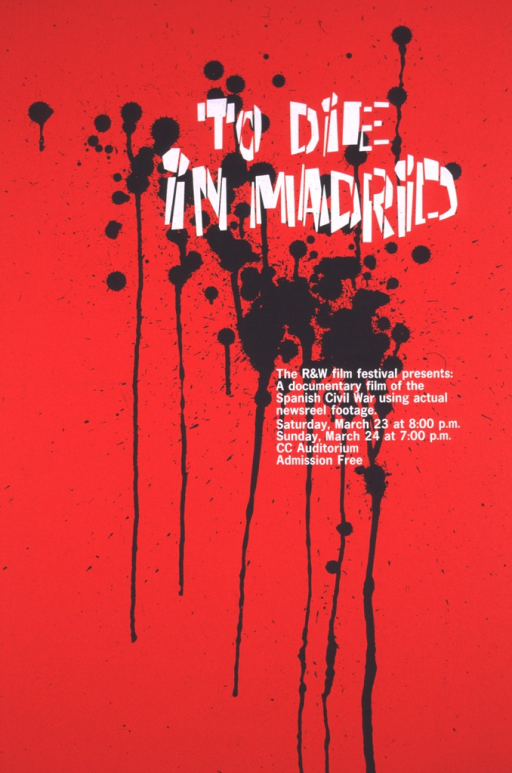 <p>The poster is red, with black paint spatters under the title dripping down to the bottom.</p>