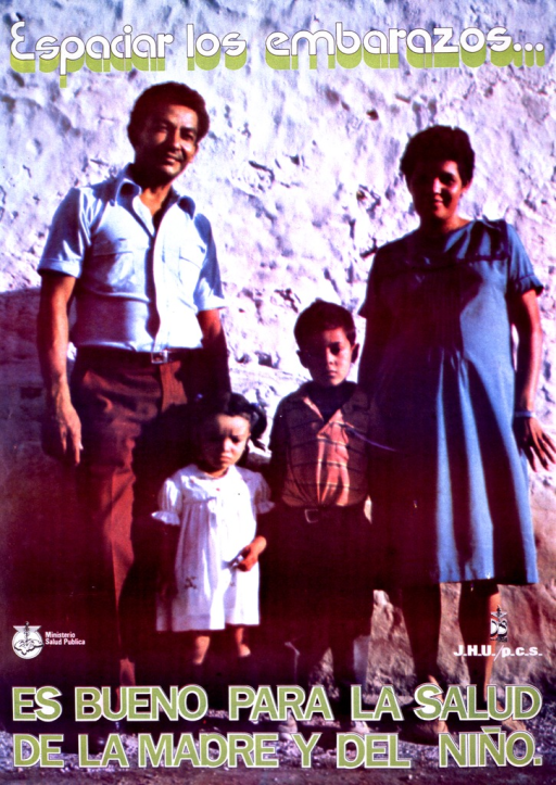 <p>Multicolor poster with green and white lettering.  Visual is photo reproduction of a four-member family standing in front of a wall.  There is a clear age gap between the two children, the younger of whom appears to be pre-school age, and the mother is pregnant.  Title superimposed at top of poster, caption superimposed at bottom of poster.  Publisher information directly above caption.  Caption stresses that spacing pregnancies is good for the health of both mother and child.</p>