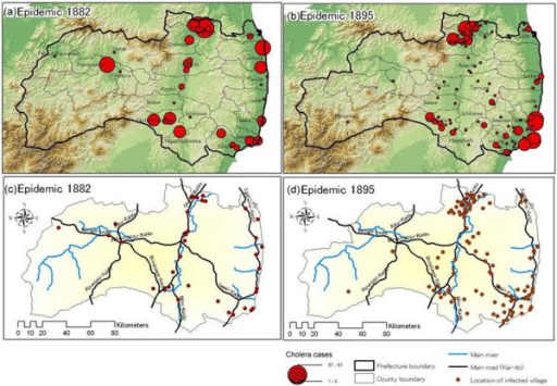 Cholera diffusion patterns in 1882 and 1895 for geographic terrain and traffic network comparisons.