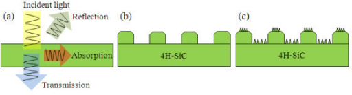 Schematic view of the 4H-SiC with different surface structures. (a) Reference cell, (b) micro-honeycomb structures, and (c) nano-honeycomb structures.