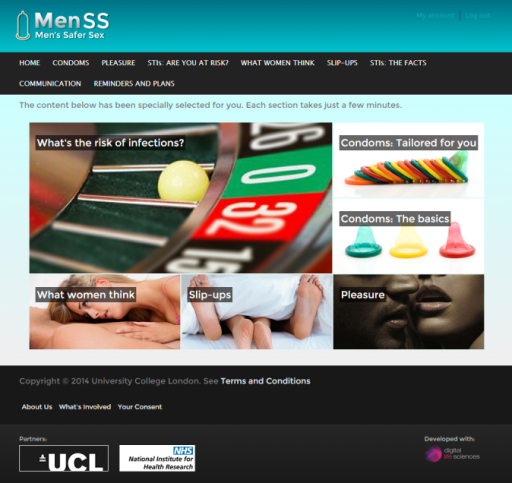 MenSS homepage with carousel of personalised tailored content.