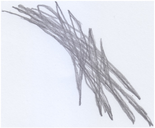 "Stefano's (18 months old) drawing of the table he hit his head against; an example of ""bad"" trace."