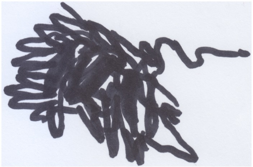 "Marco's (24 months old) drawing of a ""bad"" dog, presented to his mother while saying: ""it barks!."""