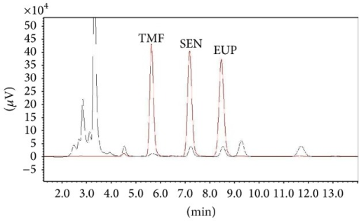 HPLC chromatogram of standard markers and 50% ethanolic extract of O. stamineus. Standard compounds: TMF (3′-hydroxy-5,6,7,4′-tetramethoxyflavone), SEN (sinensetin), and EUP (eupatorin) (red chromatogram). HPLC chromatogram of 50% ethanolic extract of O. stamineus (black chromatogram).