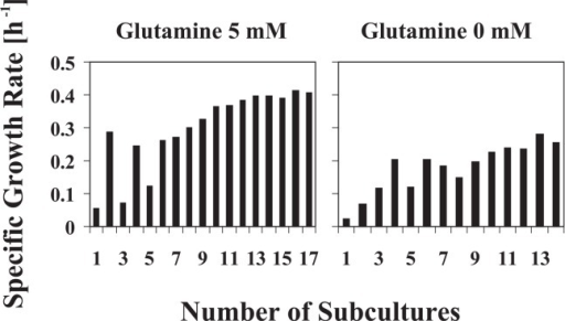 Acclimation of cells by serial-transfer cultures to culture conditions used to start environmental glutamine transition experiments. Specific growth rates of cells were traced at each subculture. E. coli strain OSU8 was separately grown at 37°C on medium D with 5 mM glutamine or without glutamine (i.e., 0 mM glutamine) until a plateau level of the specific growth rate of cells was reached.