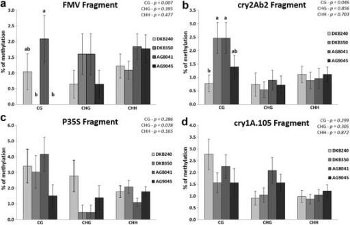 Cytosine methylation levels among MON-89Ø34-3 maize varieties in four regions of the transgenes. The levels of cytosine methylation were measured in CG, CHG and CHH residues. a FMV promoter region; bcry2Ab2 transgene region; c 35S promoter region; dcry1A.105 transgene region. Vertical bars indicate standard errors. Means followed by different letters in the same cytosine type are significantly different according to the Kruskal–Wallis test (p < 0.05). Exact p values for the statistical test of each of the cytosine comparisons are shown on the right upper corner
