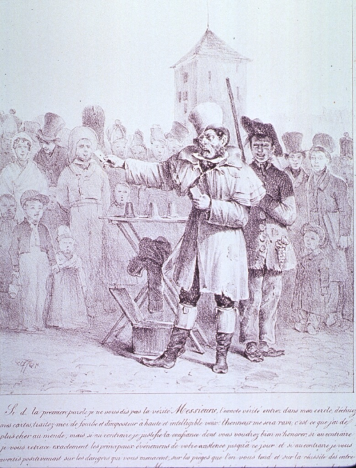 <p>Street scene; a man is standing before a crowd reading fortunes from cards; an assistant stands behind him.</p>
