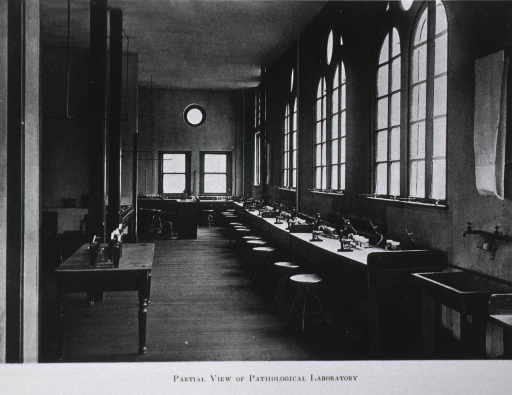 <p>Interior view: tables and stools line the walls under the windows, there are microscopes and other apparatus on the tables.  The laboratory is equipped to study gross and microscopic pathology.</p>