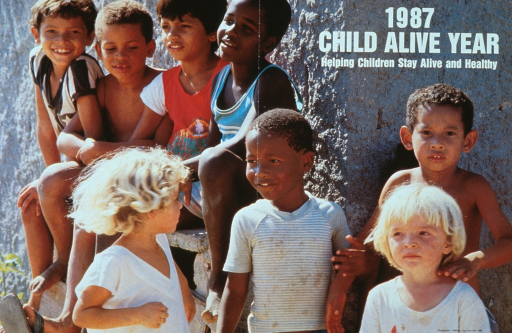 <p>Multicolor poster with white lettering.  Title in upper right corner of poster.  Entire poster is a reproduction of a color photo featuring a diverse group of children.  The children are smiling.  Some sit on a wall and others stand.  The children appear happy, but their clothing is grubby.  Verso of poster explains the Child Alive program in detail.</p>