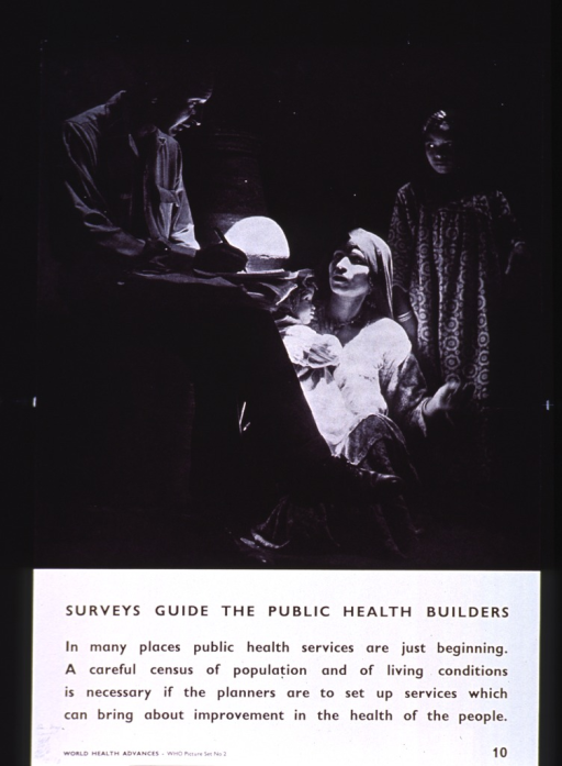 <p>White poster with black lettering.  Upper portion of poster features a reproduction of a b&amp;w photo in which a man with a clipboard converses with a woman.  There are two children in the background.  Title below photo, caption below title.  Note in lower left corner.</p>