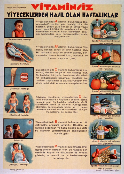 <p>Predominantly yellow poster with red and black lettering.  Publisher information in upper left corner.  Title at top of poster addresses the concepts of vitamins, food, and illness.  Visual images on left side of poster are illustrations of diseases resulting from vitamin deficiency including a child with a blind eye, a man with cramps or spasms in his lower legs (beriberi), a leg and gums beset with sores (scurvy), two infants with deformed legs (rickets), a male-female couple gazing upward toward a baby's face (sterility), and a woman covered with scaly skin (pellagra).  Text in center of poster describes the vitamins needed to prevent these diseases.  Illustrations on right side of poster depict food groups rich in the specific vitamins.</p>