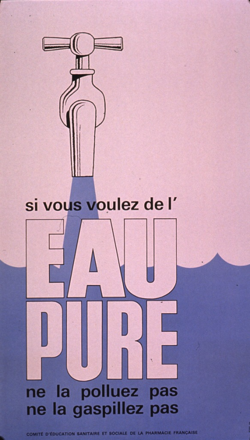 <p>White and light blue poster with black and white lettering.  Title in lower portion of poster.  Visual image is an illustration of a running faucet.  Publisher information at bottom of poster.</p>