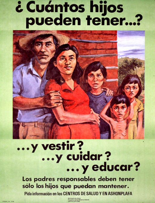 <p>Predominantly green poster with black lettering.  Initial title phrase at top of poster.  Visual image is an illustration of a five-member family.  The children show signs of poverty, such as patched clothing and visible ribs.  The mother is also pregnant.  Remaining title text below illustration.  Caption and note near bottom of poster.  Caption states that responsible fathers have only as many children as they can support.  Note encourages asking for information at health centers and the country's family planning association.  Publisher and sponsor information at bottom of poster.</p>