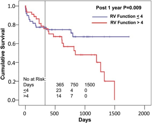 Relationship of preoperative right ventricular (RV) dysfunction to postoperative survival. Groups are divided into those greater than the median of right ventricular function score of 4, and those ≤4 [95% confidence interval (CI) ≤4: 1151–1405, >4: 552–900]. The vertical line indicates 1 year, and after that there is a clear separation of both groups, though not before. Censoring the survival before 1 year results in a significant difference between these groups after 1 year (odds ratio 10.8).