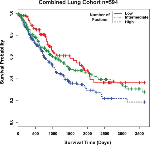 Gene fusion numbers correlates with lung cancer prognosis. A, Kaplan-Meier analysis for the combined cohort of lung cancer samples (n=594) with low (0–7) (n=124), intermediate (8–16) (n=237), or high (≥17) (n=233) number of fusions (Likelihood Ratio Test P=0.008). Samples with high number of fusions have worse prognosis (Cox survival analysis P=0.005). Individual Kaplan-Meier analyses with LUAD and LUSC samples are found in Supplementary Fig. 4A and 4B respectively.