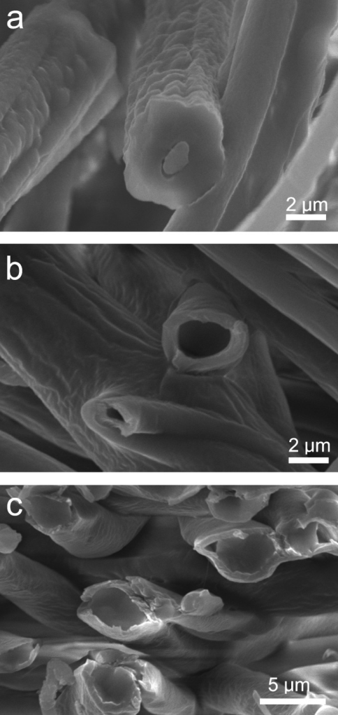 Representative scanning electron images depicting different types of core-sheath fibers fabricated using slit-surface electrospinning.(a) bicomponent (System D) (b) hollow (System E); and (c) unelectrospinnable PDMS core—PLGA sheath (System F).