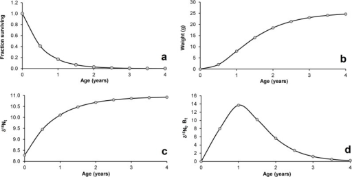 Astyanax fasciatus in Pinguela Lagoon, southern Brazil: (a) survival curve; (b) weight growth curve; (c) δ15N-to-age response; (d) weighted impact of δ15N according to age.