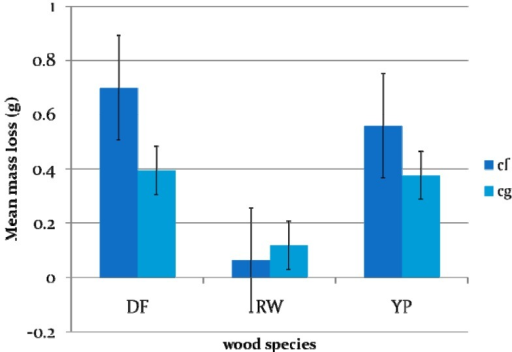 Mean mass loss of three wood species for C. formosanus and C. gestroi. (Two way ANOVA and Ryan-Einot-Gabriel-Welsch Multiple Range Test [REGWQ], P < 0.05) (DF = Douglas fir, YP = Southern Yellow pine, RW=Redwood Cf = Coptotermes formosanus, Cg = Coptotermes gestroi).