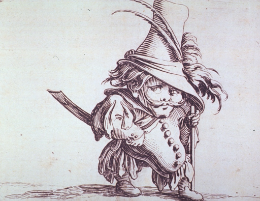<p>Grotesque figure of a man wearing a large hat, a sword, and holding a walking staff; exhibiting abnormal abdominal growth.</p>