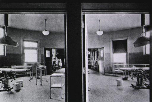<p>Two back operating rooms.</p>