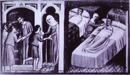 <p>Scene of a 13th century infirmary.</p>