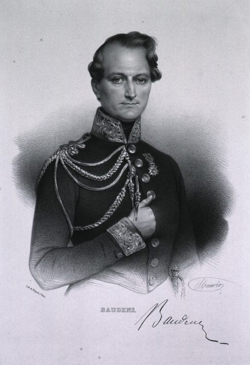 <p>Half-length, standing, full face, wearing French Army uniform with medal, hand in coat.</p>
