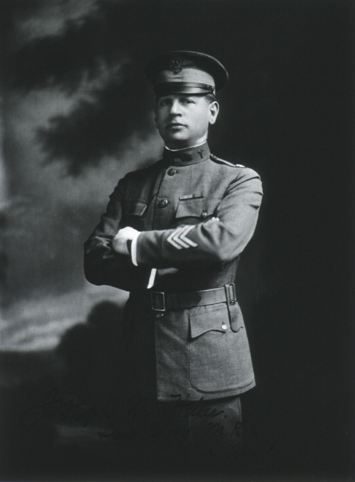 <p>Three-quarter length, left pose, full face; arms folded; wearing uniform and cap (Lieut. Colonel, M.R.C.).</p>