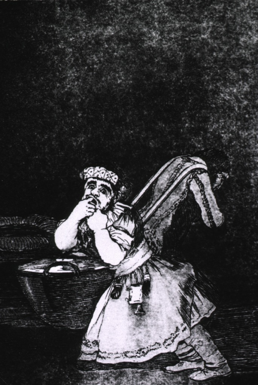 <p>Photoprint of the Goya etching El de la rollona: a man is leaning forward at an acute angle; he is wearing a dress, hands are over his mouth, and he has a childlike expression on his face.</p>
