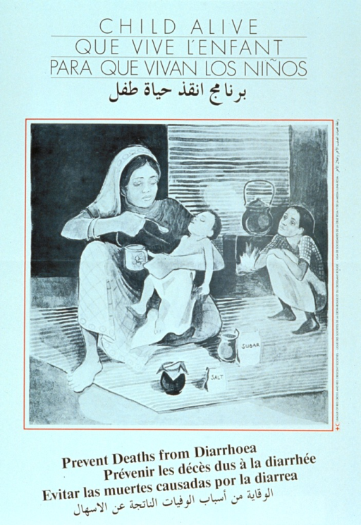 <p>White poster with black lettering.  Title in four languages at top of poster.  Visual image is an illustration of a mother giving a rehydrating solution to a sick child while a healthy child sits near the fire in the background.  Caption in four languages below image.</p>