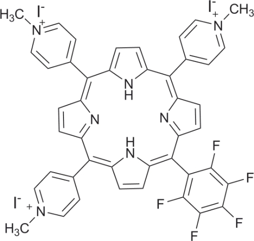 Structure of the 5,10,15-tris(1-methylpyridinium-4-yl)-20-(pentafluorophenyl)porphyrin tri-iodide.