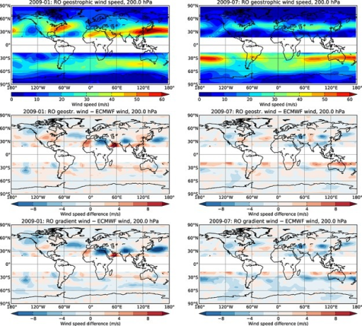 Geographic maps (outside the tropics) of (top row) RO geostrophic wind speed, (middle row) its difference to ECMWF wind speed, and (bottom row) difference between RO gradient wind speed and ECMWF wind speed, at 200 hPa in January 2009 (left column) and July 2009 (right column).