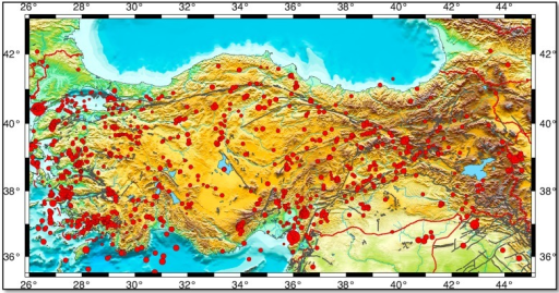 Seismicity of Turkey and surroundings. Red circles mark earthquakes. The circle size is proportional to the magnitude of the earthquakes (magnitude equal to and larger than 4.0) [7]. Bold black lines indicate the faults [8]. The figure is generated by the Generic Mapping Tools (GMT) package of Wessel and Smith [9].