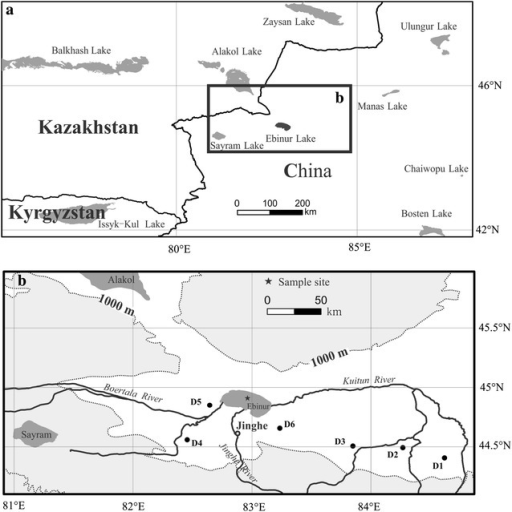 Vicinity map of the regions of Ebinur Lake (a), and the sites of core sediment and dust samples (b)