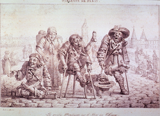 <p>A group of three beggars, with various physical abnormalities, have stationed themselves on a bridge.</p>