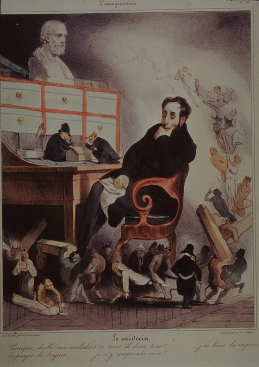 <p>Caricature:  A physician seated at his desk has slipped into phantasmagorical dream as he muses over his inability to prevent his patients from dying.</p>