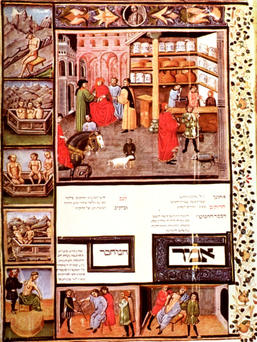 <p>Street scene with interior view of an apothecary's shop; also miniatures depicting heliotherapy and balneology, a cupping procedure, bloodletting, and surgery on a patient's chest.</p>