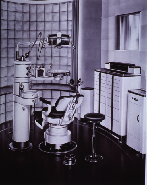 <p>A pictorial design suggesting placement of a dental chair and equipment in an examination room.</p>