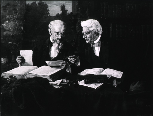<p>Showing Dr. Coles in his study, holding glasses in hand, and talking to another elderly man.</p>