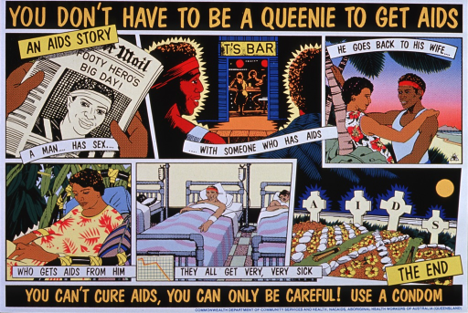 <p>Mulitcolored background with orange and black lettering. The poster is divided into six illustrations, which tell a story of a husband who first has sex with someone with AIDS. Then the husband goes back to his wife and infects her. The bottom three illustrations show her now sick, then the husband very sick in a hospital, and then in the final illustration, four tombstones that spell out the word &quot;AIDS.&quot; The title is at top of the poster, while the caption is near the bottom. Publisher and sponsor information is at the very bottom.</p>