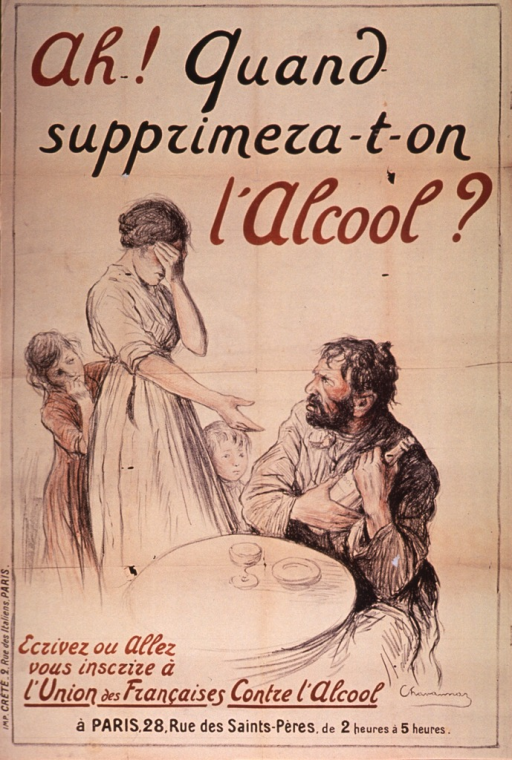 <p>Poster on tan or discolored white paper with brown and black lettering.  Title at top of poster.  Visual image is an illustration of woman confronting a man as he clutches a bottle.  The woman shields her eyes, as if crying, and two children cower behind her.  The man is disheveled and ruddy faced.  Publisher information at bottom of poster.</p>