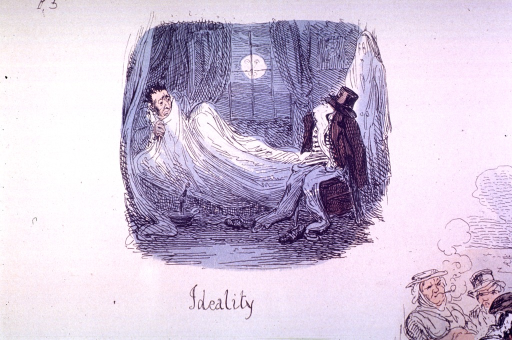<p>A man in bed is fearfully holding a sheet to his chin.  Two apparitions are at the foot of the bed.</p>