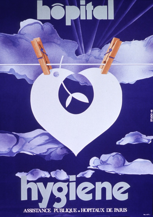 <p>Predominantly blue poster with green and white lettering.  Initial title word at top of poster.  Visual image is the hospital logo--a slightly abstract combination of a dove and a heart--hanging from a clothesline, secured by two clothespins.  Remaining title word below image.  Publisher information at bottom of poster.</p>